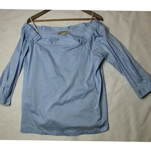 Denim Blue Ann Taylor Loft Off the Shoulder 3/4